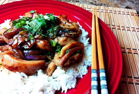 Chicken Recipe : Spicy Stir Fry Chicken with Eggplant : How to Stir Fry : Chinese Food