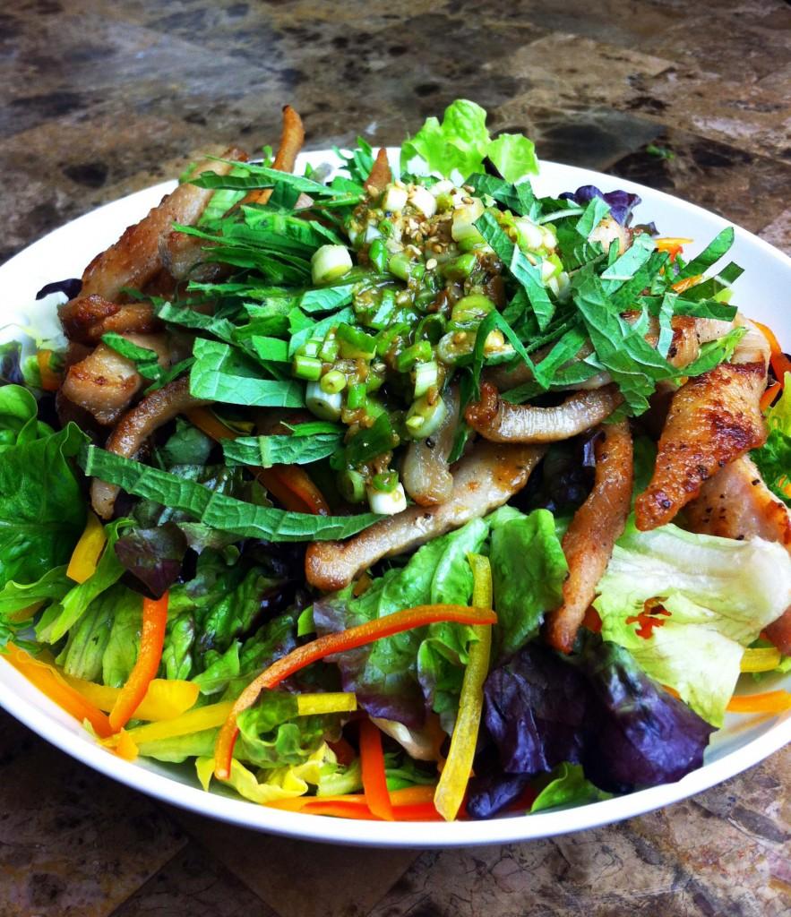 Crispy Pork Jowl with Mixed Green Salad and Doenjang Dressing