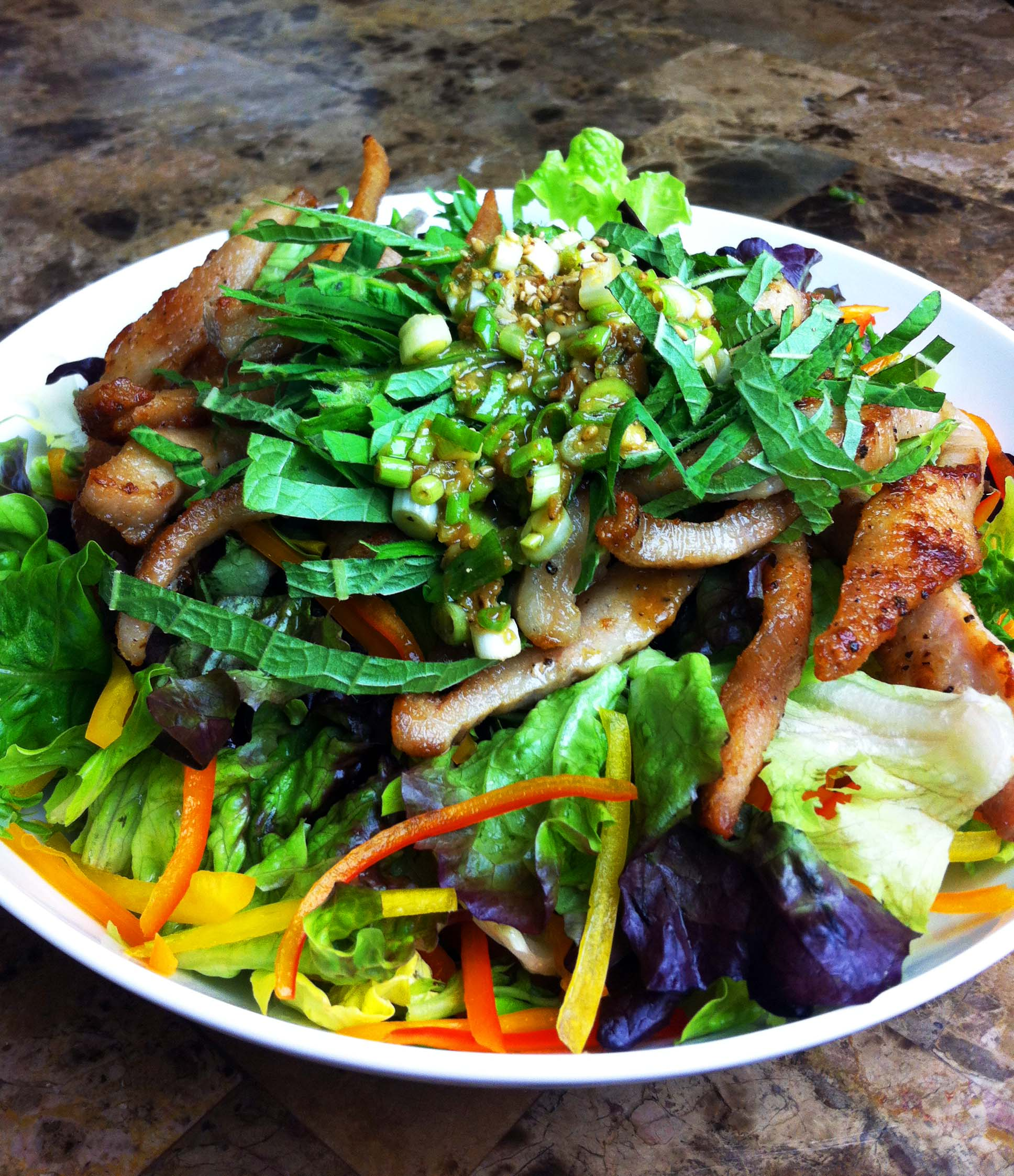 Mixed Green Salad with Crispy Pork Jowl and Doenjang Dressing