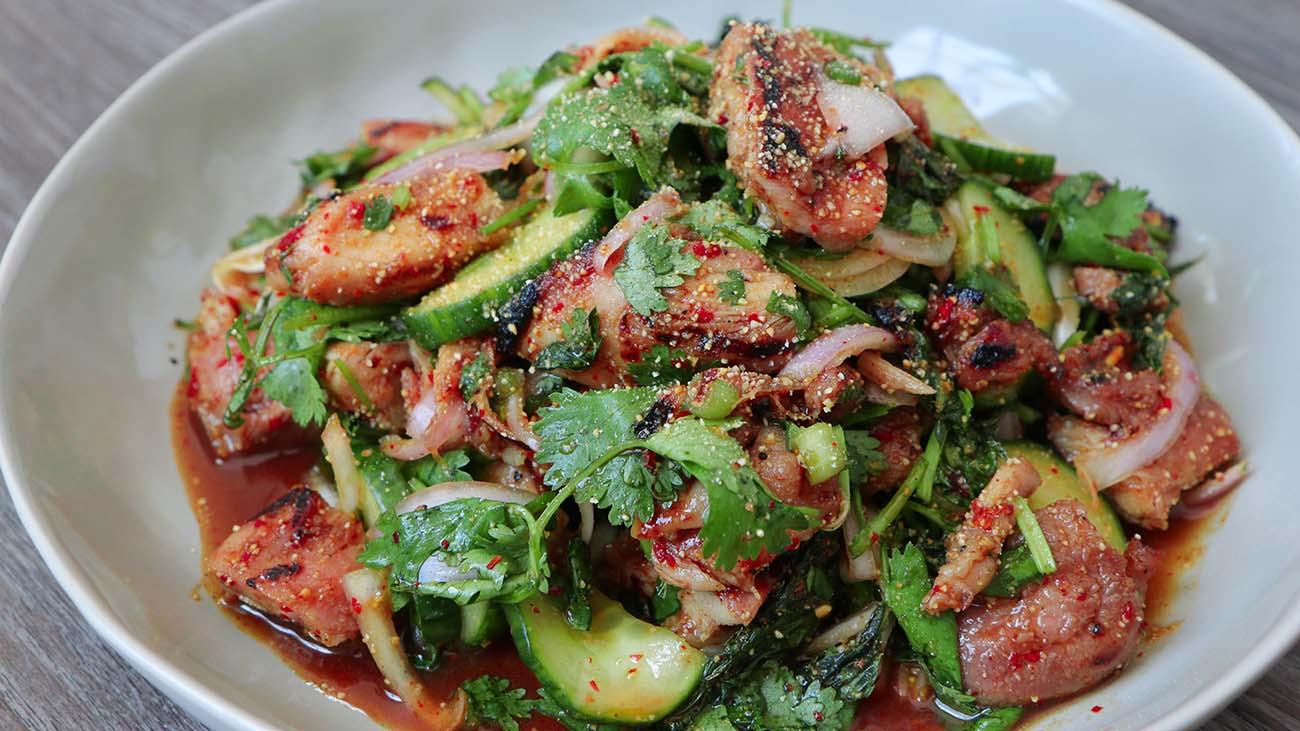 Thai Grilled Chicken Salad Recipe & Video - Seonkyoung Longest